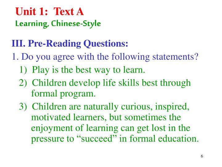Unit 1:  Text A