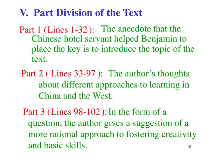 V.  Part Division of the Text