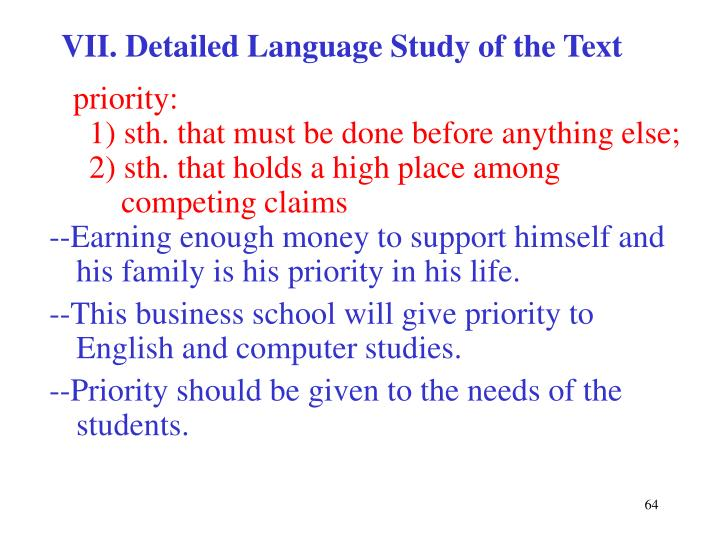 VII. Detailed Language Study of the Text