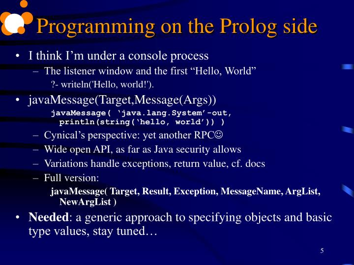 Programming on the Prolog side