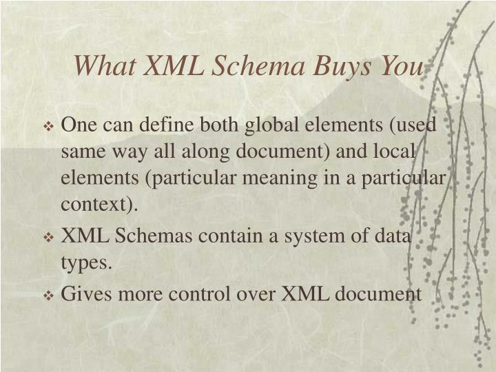 What XML Schema Buys You