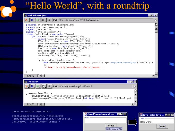 """""""Hello World"""", with a roundtrip"""