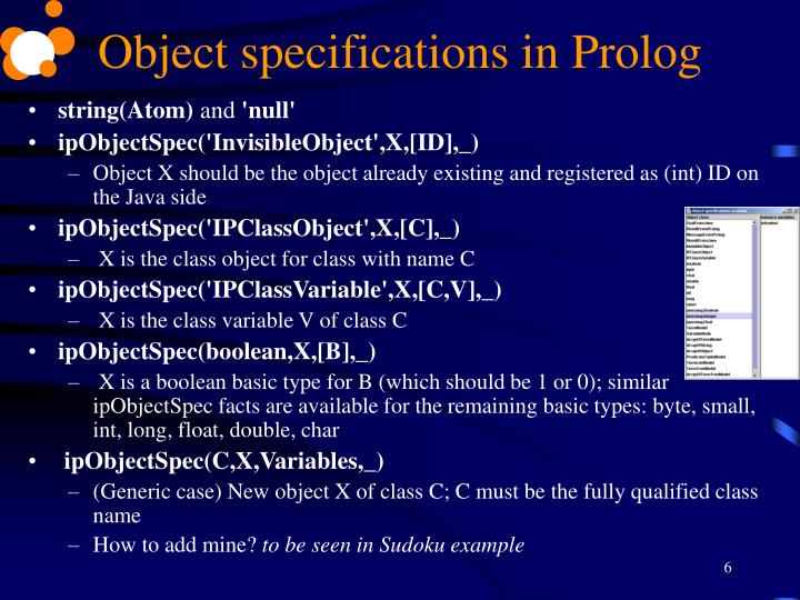 Object specifications in Prolog