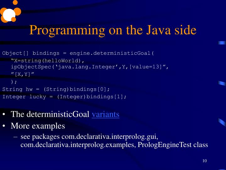 Programming on the Java side
