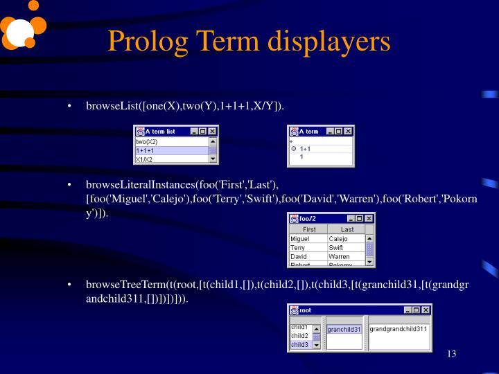 Prolog Term displayers
