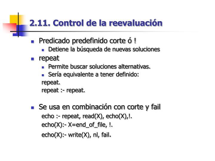 2.11. Control de la reevaluación