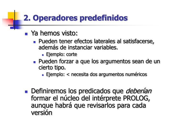 2. Operadores predefinidos