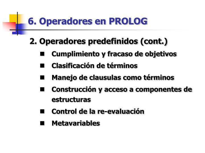 6. Operadores en PROLOG