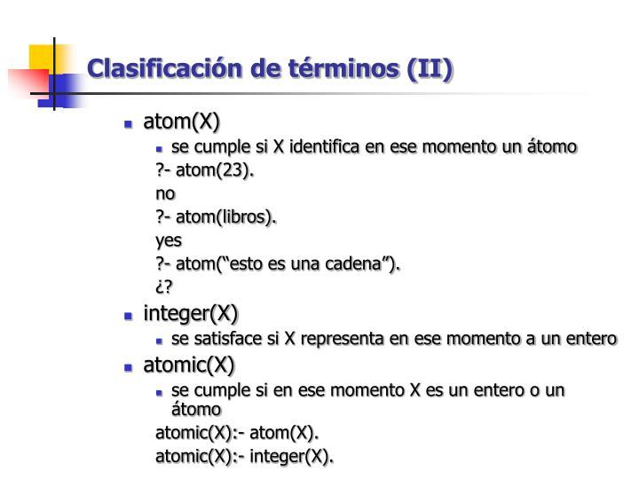 Clasificación de términos (II)
