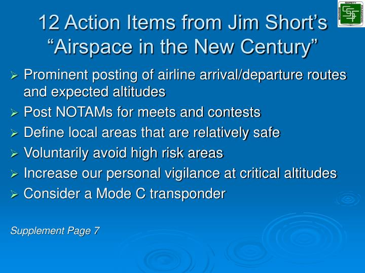 "12 Action Items from Jim Short's ""Airspace in the New Century"""