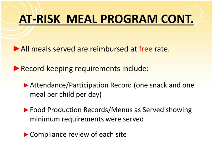 AT-RISK  MEAL PROGRAM CONT.