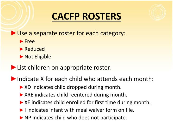 CACFP ROSTERS