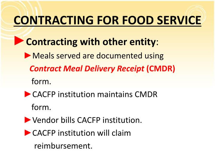 CONTRACTING FOR FOOD SERVICE
