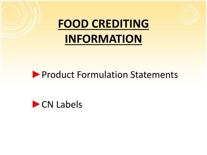 FOOD CREDITING