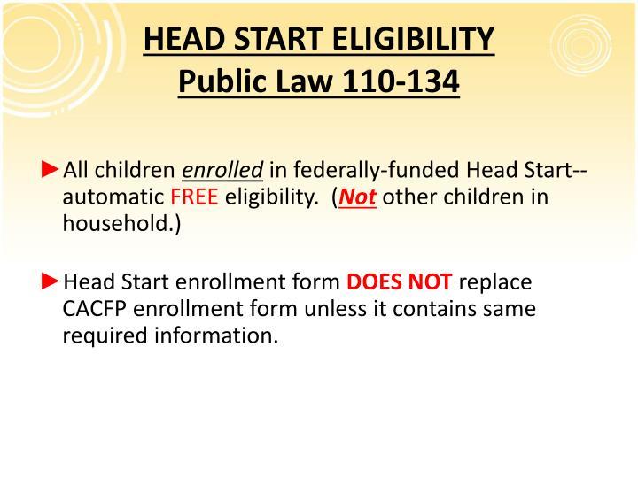 HEAD START ELIGIBILITY