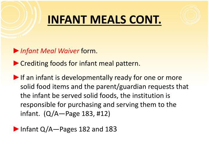 INFANT MEALS CONT.