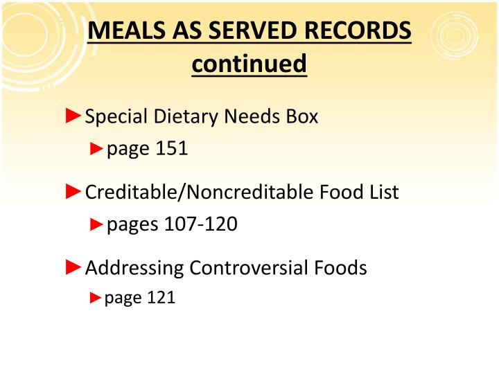 MEALS AS SERVED RECORDS