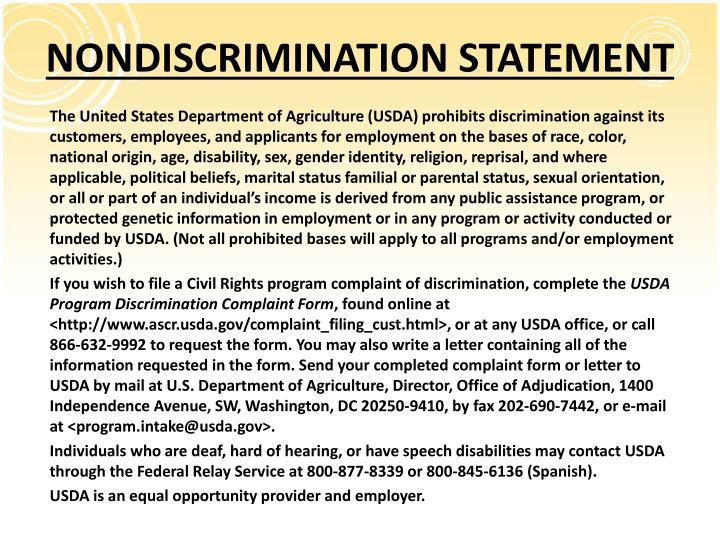 NONDISCRIMINATION STATEMENT