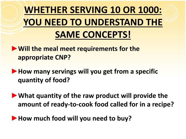 WHETHER SERVING 10 OR