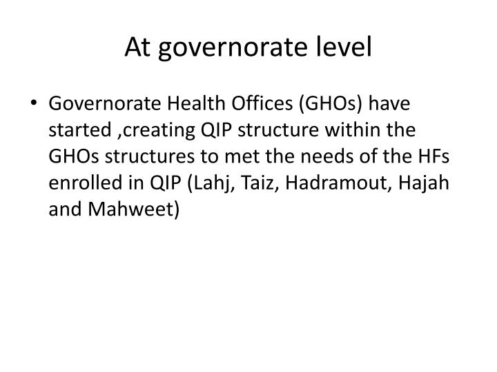 At governorate level
