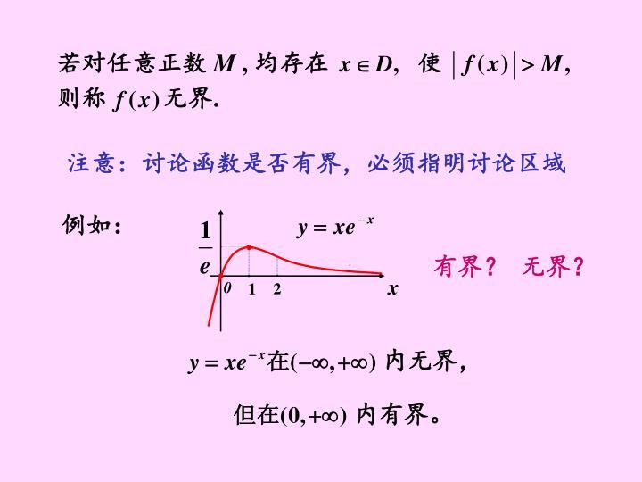 注意:讨论函数是否有界,必须指明讨论区域