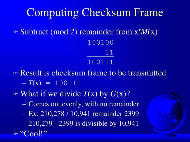 Computing Checksum Frame