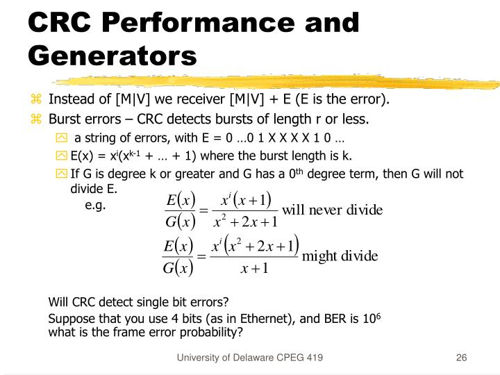 CRC Performance and Generators