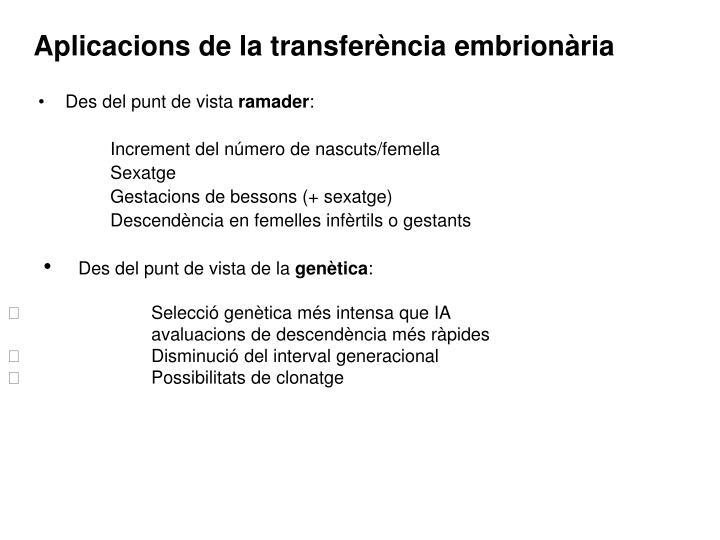 Aplicacions de la transferència embrionària