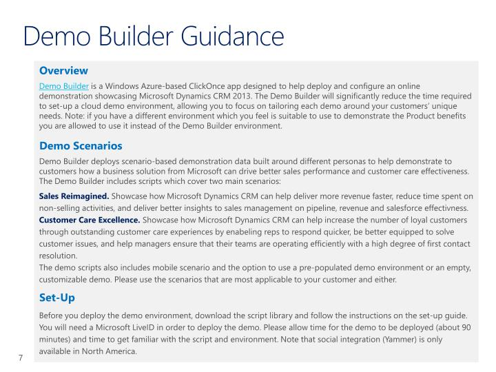 Demo Builder Guidance