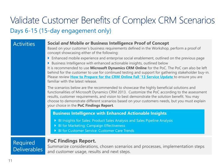 Validate Customer Benefits of Complex CRM Scenarios