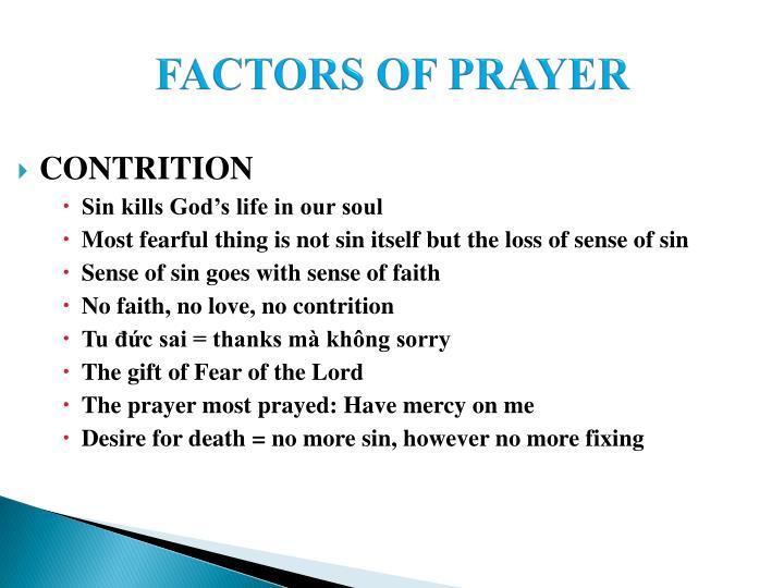 FACTORS OF PRAYER