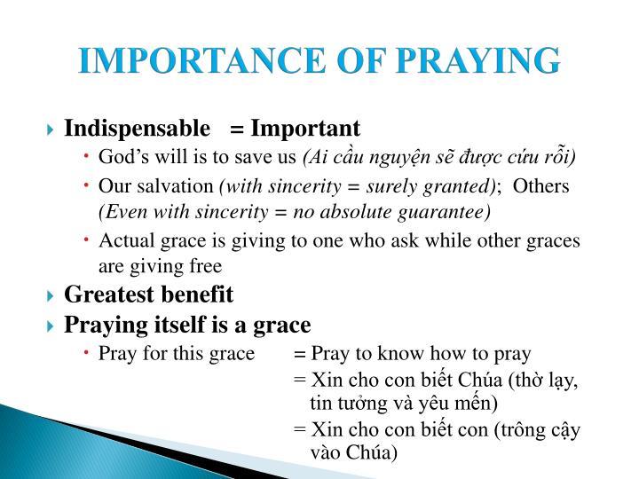 IMPORTANCE OF PRAYING