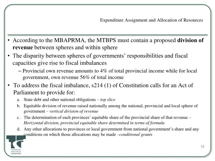 Expenditure Assignment and Allocation of Resources