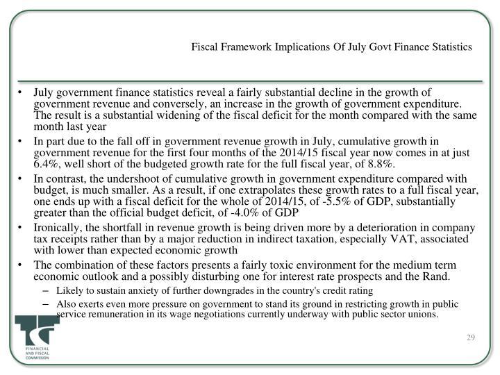 Fiscal Framework Implications Of July Govt Finance Statistics