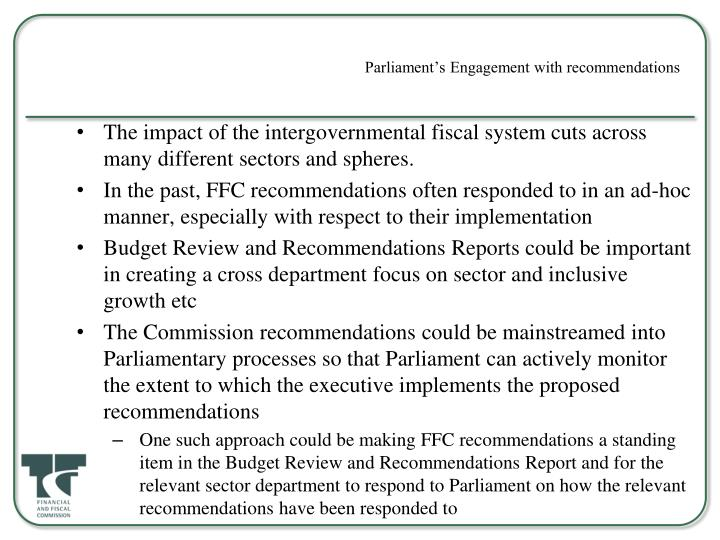 Parliament's Engagement with recommendations