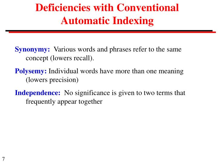 Deficiencies with Conventional Automatic Indexing