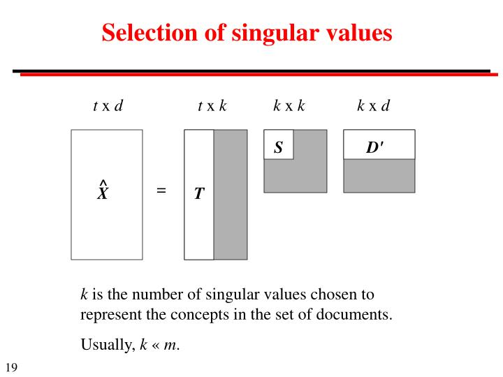 Selection of singular values