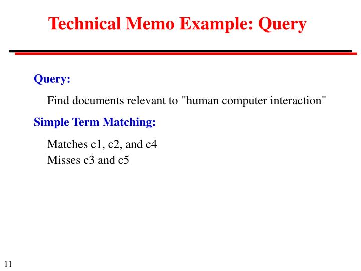 Technical Memo Example: Query
