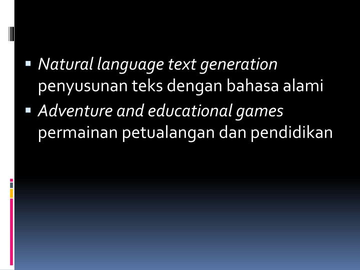 Natural language text generation