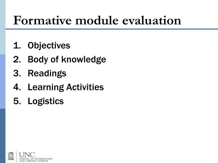 Formative module evaluation