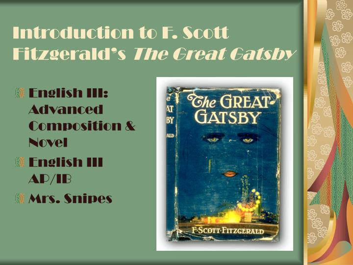 Introduction to F. Scott Fitzgerald's