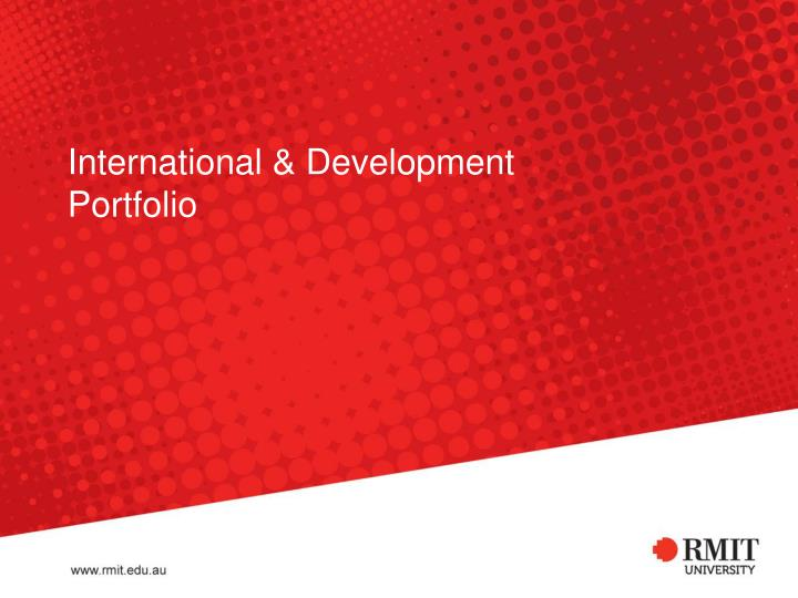 International development portfolio