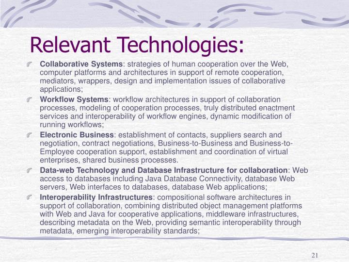 Relevant Technologies: