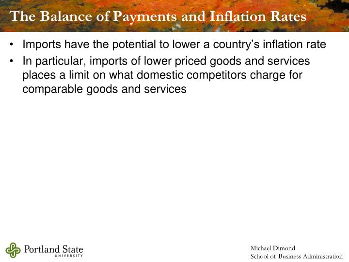 The Balance of Payments and Inflation Rates