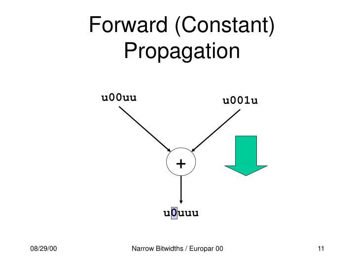 Forward (Constant) Propagation
