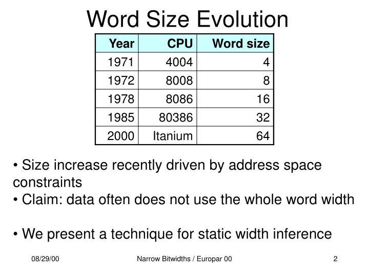 Word Size Evolution