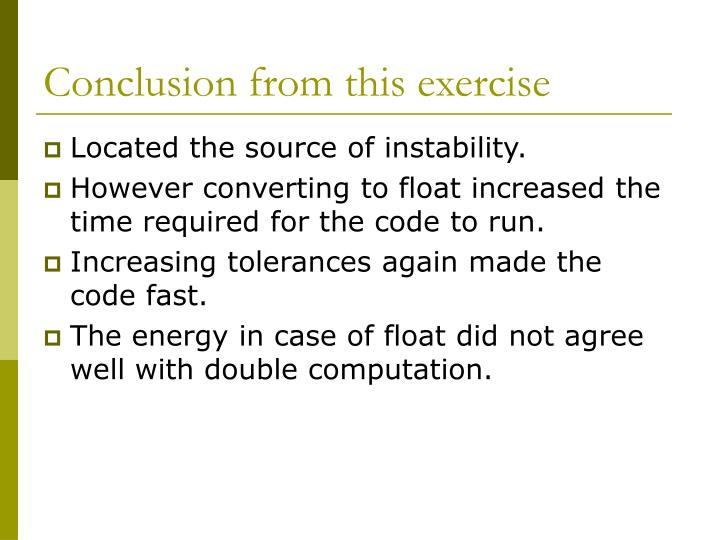 Conclusion from this exercise