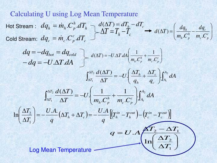 Calculating U using Log Mean Temperature