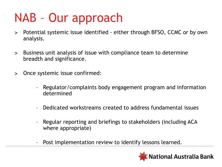 NAB – Our approach