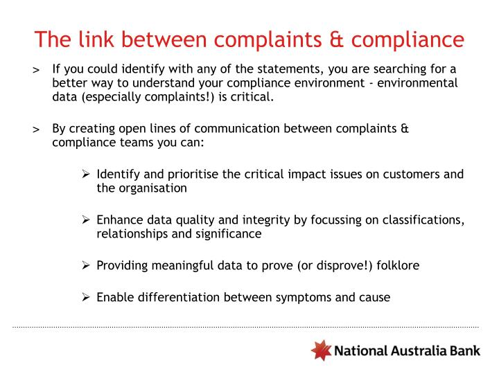 The link between complaints & compliance